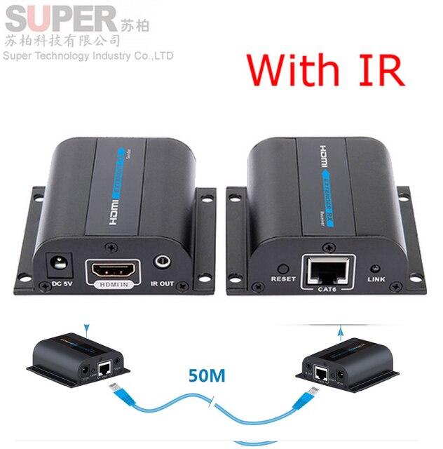 LKV372A HDMI 1080 P Extender Ж/ИК Конвертер До 50 М, Видео/Аудио Сигнала HD Extender Над Cat6/Cat7 Network Extender А. В. адаптер