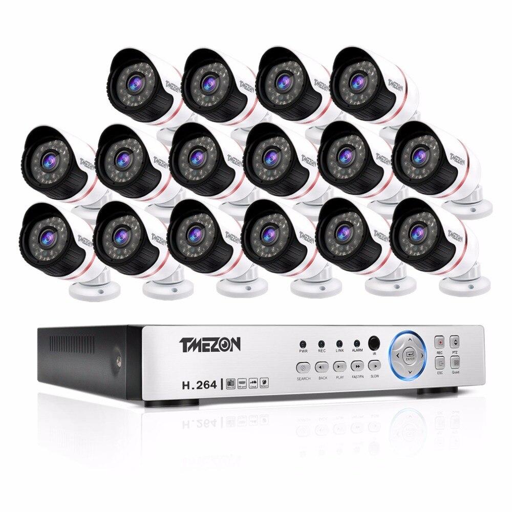 Tmezon HD 16CH 1080 P DVR 16 pièces AHD 2.0MP 1080 P caméra de Surveillance de sécurité système de vidéosurveillance extérieur étanche Kit de Vision nocturne IR