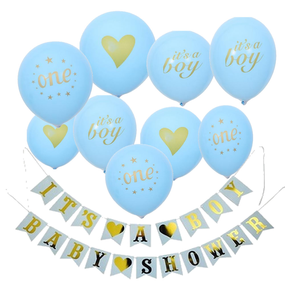 its a boy its a girl heart baby printed babyshower decorations party supplies baby shower Newborn birthday balloon banner in Ballons Accessories from Home Garden
