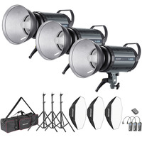 Neewer 1200W Studio Strobe Flash Photography Lighting Kit: (3)400W Monolight+(3)Reflector Diffuser+(3)Softbox+(3)Light Stand