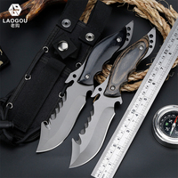 LAOGOU Hunting Knife for Camping Tools Multifuntional Tactical knives Full or Serrated Fixed Blade Knife with Nylon Bag Cover
