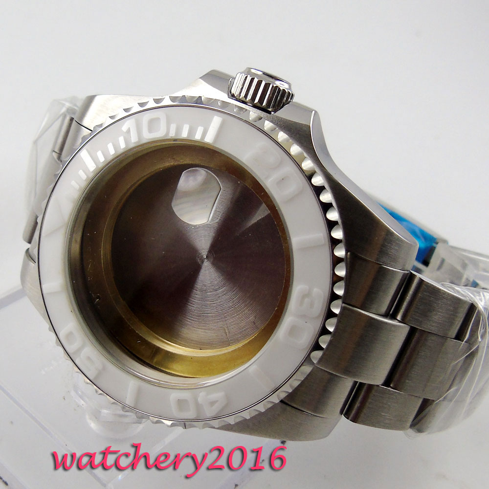 43mm sapphire glass white caremci bezel Watch Case fit 8205 8215 821A 2836 movement43mm sapphire glass white caremci bezel Watch Case fit 8205 8215 821A 2836 movement