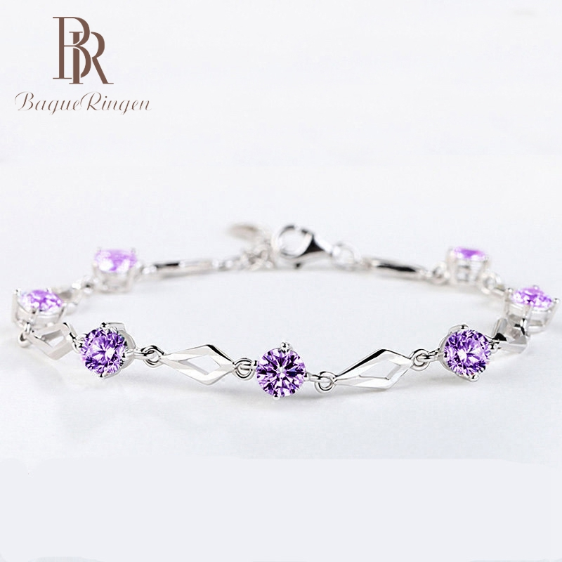 Infinity-Bracelets Charms Crystal-Stones 925-Sterling-Silver Women Engagement For