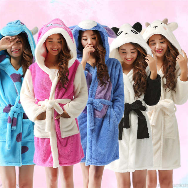 adf08362e3 New plush robe Adult Animal panda Pajamas long sleeve lovely Sleepwear bath  robes dressing gowns for