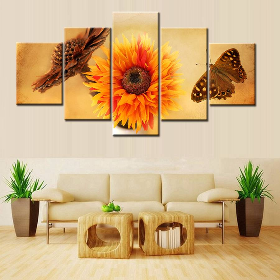 US $14 94 17% OFF|3D Sunflower and Butterfly Dried Flowers Housewarming  Gift Artwork for House Room Decoration Wall Art Canvas Painting 5 Pieces-in