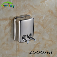 Free Shipping Chrome Polish Liquid Soap Dispenser Wall Mount Lavatory Bath Shower Accessories Double Soap Dispenser