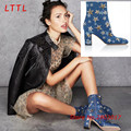 Brand Design Star Print Blue Denim Boots Fashion Thick Heels Ankle Boots For Women Zip Prom Party Female Shoes Botas Bootie
