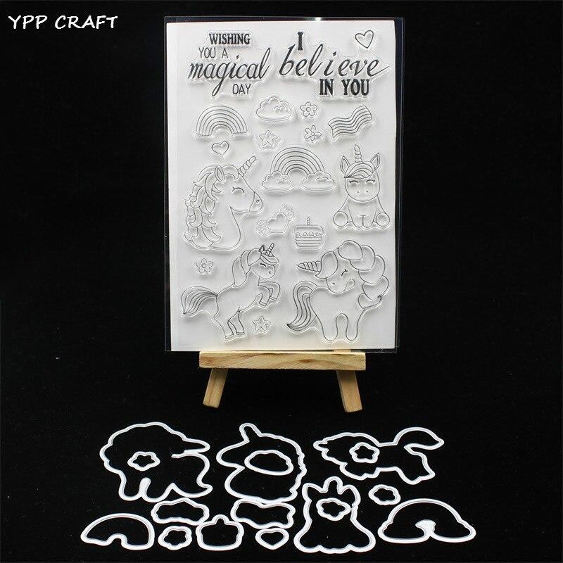 YPP ARTISANAT Licornes Magiques Timbre Et la Coupe des Métaux Meurt pour le BRICOLAGE Scrapbooking/photo album Décoratif Gaufrage BRICOLAGE Carte De Papier 201