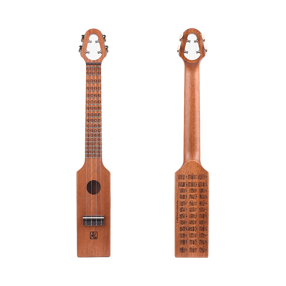Portable 23 Acoustic Ukulele Concert Ukelele Mahogany Wood Compact Size With Carved Musical Scale Chord Chart