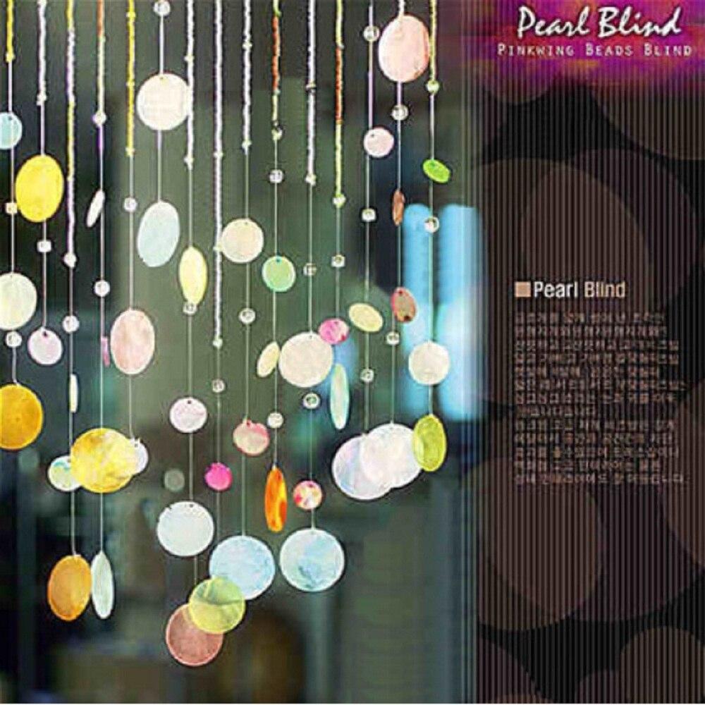 Produit fini 12 cordes shell cristal perle rideau peut être personnalisé décoration porte cristal rideau porche partition - 5
