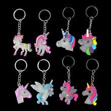 Fluorescent Silicone Unicorn Key Rings Set