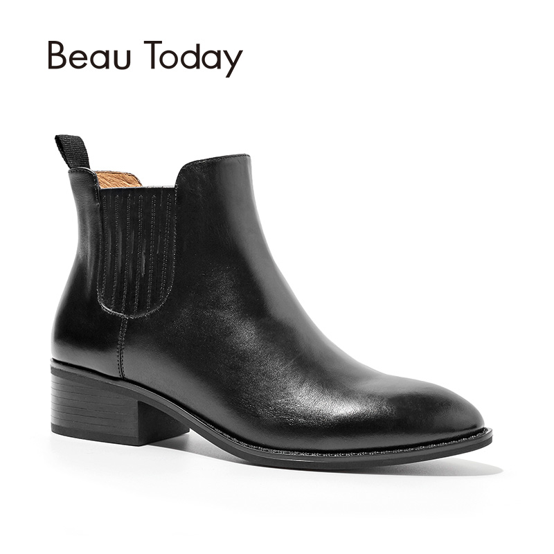 BeauToday Chelsea Boots Women Top Quality Genuine Calf Leather Ankle Boot Pointed Toe Autumn Winter Lady Brand Shoes 03234 winter autumn chelsea ankle boots women