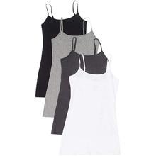 Комплект из 4 предметов Для женщин жилет регулируемые плечевые жилетка, топ, блузка Повседневное без рукавов, майка-топ, футболка