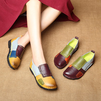 2018 Fashion Women Shoes Genuine Leather Loafers Women Mixed Colors Casual shoes Handmade Soft Comfortable Shoes Women Flats