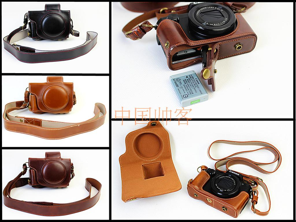 High-grade Retro Vintage PU Leather Camera Case Cover Bag For Canon PowerShot G5X G5 X With Bottom Battery Opening