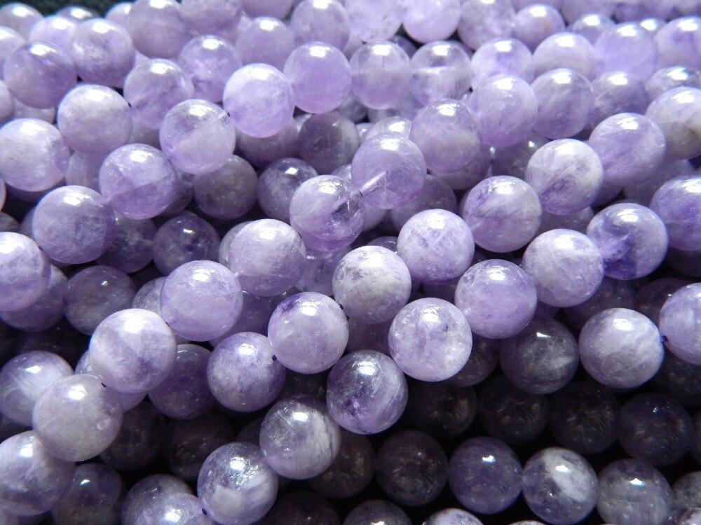 Prix pour En gros (2 brins/set) miracle naturel lavande quartz 8mm lisse ronde européenne perles en vrac pierre