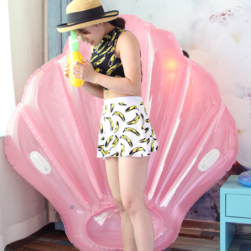 160*160cm Giant Inflatable Pink Shell Pool Float For Women Ride-On Swimming Ring With Handle Adult Water Party Fun Toys Piscina
