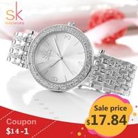 Shengke Luxury Women Watch Brands Crystal Sliver Sexy Diamond Design Bracelet Watches Ladies Crystal Watches Relogio