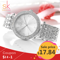 Shengke Luxury Women Watch Brands Crystal Sliver Sexy Diamond Design Bracelet Watches Ladies Crystal Watches Relogio