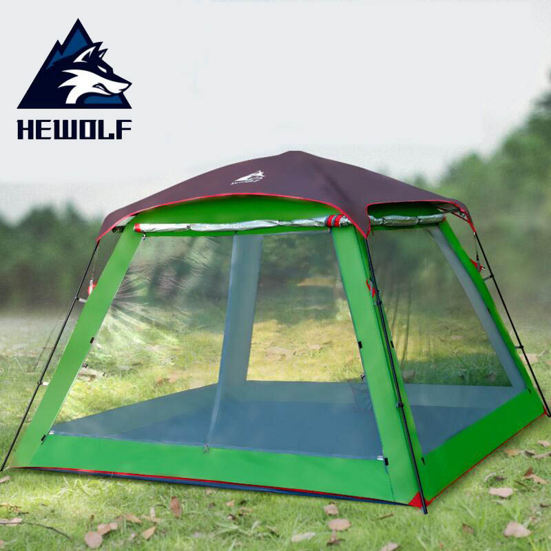 Hewolf Multifunction Outdoor Tent Waterproof 4season Double Layer 5 8 Person Large Family Camping Tent Beach Party Tents Pergola
