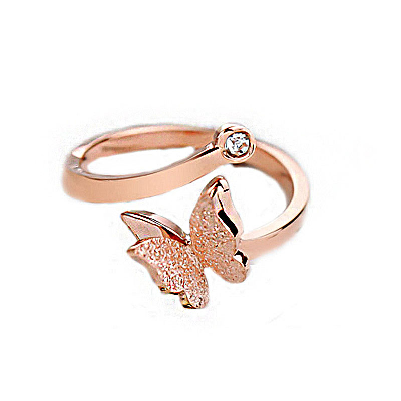 SHUANGR New Elegant Rose Gold Color Butterfly Finger Ring For Women Fashion Exquisite Opening Adjustble Engagement Jewelry