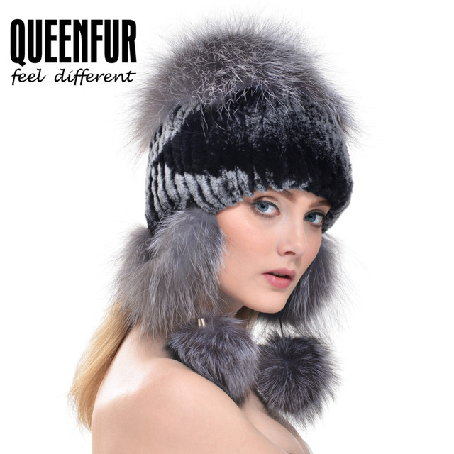 2016 New Fashion Women Real Rabbit Fur Hat Knitted Rex Rabbit Fur Ear Protector Caps Winter Warm Real Silver Fox Fur Headgear