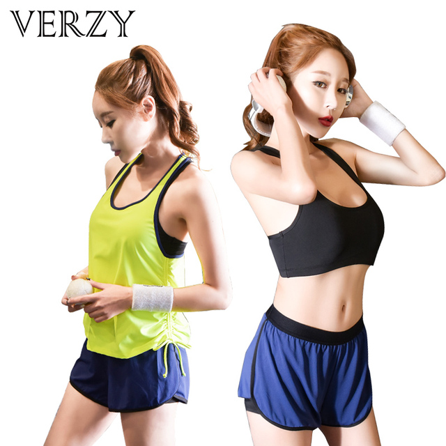 f1f7cd46cadf2 Sport Bra+Workout Shorts+Gym Tank Top Sportswear Women Yoga Set Fitness Gym  Clothes Jogging Tracksuit Breathable Sport Suit Girl