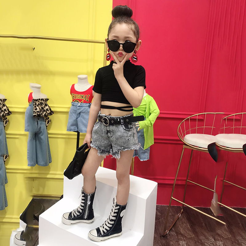 Summer girls t <font><b>shirt</b></font> baby crop top kids short tee children streetwear clothes fashion crop bandage lacing <font><b>2</b></font> to 12 yrs image
