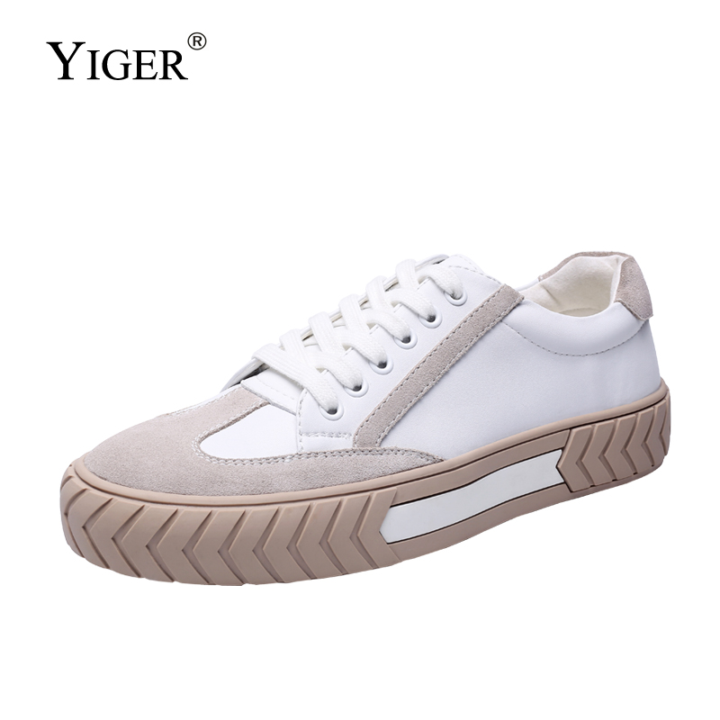YIGER New Men Sneakers Male Spring Casual Leisure Lace-up Shoes Cow Split Leather White Shoes Breathable Fashion Comfortable 254