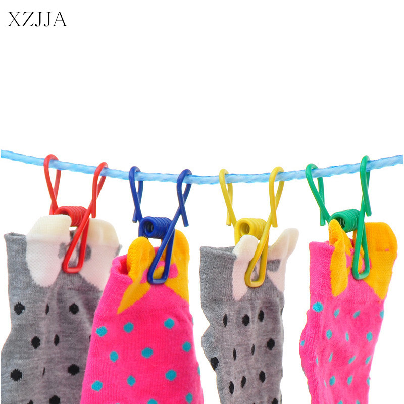 XZJJA 20Pcs Colorized Stainless Steel Clothes Pegs Hanging Clothes Pins Clothespins Cute Beach Towel Clips Home Bed Sheet Clamps