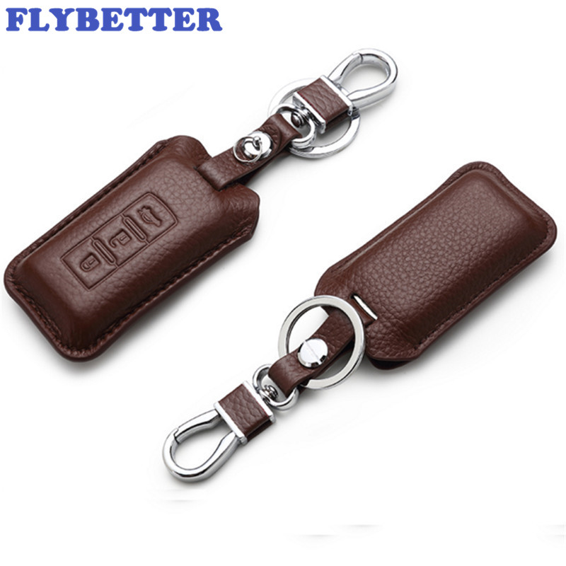 FLYBETTER Genuine Leather 3Button Smart Key Case Cover For Mitsubishi Outlander/Lancer /Pajero Sport /ASX Car Styling L1679