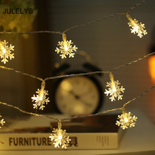 JULELYS 10M Fairy Lights Battery Powered LED Snow String Gerlyanda Christmas Decoration For Holiday Wedding Bulbs Garland