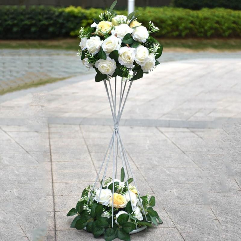60cm High Metal Flower Candle Holder Vase Stand Iron Frame Wedding ...