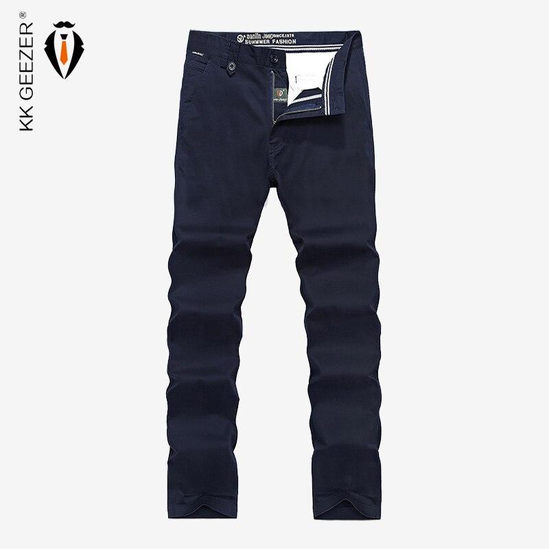 Männer Freizeithosen Lange Hosen 2017 Marke Hochwertiger Baumwolle Männer Arbeiten Lose Overalls Tasche Geschäfts Feste Blau Plus Größe 44