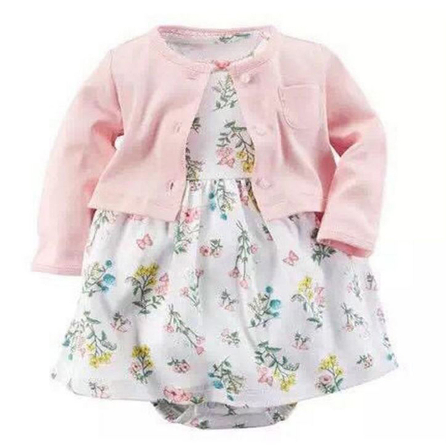Лето Осень Девочки Dress Платья Принцесс 2 шт. Детские Цветочный Dress Хлопка С Длинным Рукавом Кардиган Пальто Девушки Комплект Одежды