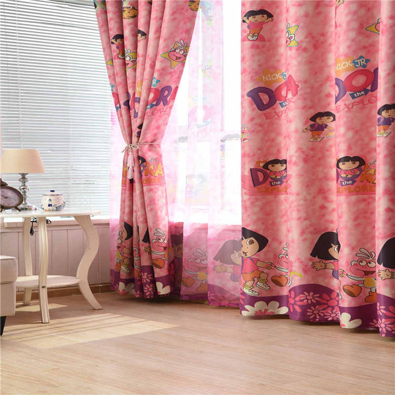 Pink Cartoon Curtains Girl Princess Children Kids Room Tulle Curtains For Windows Bedroom Drapes