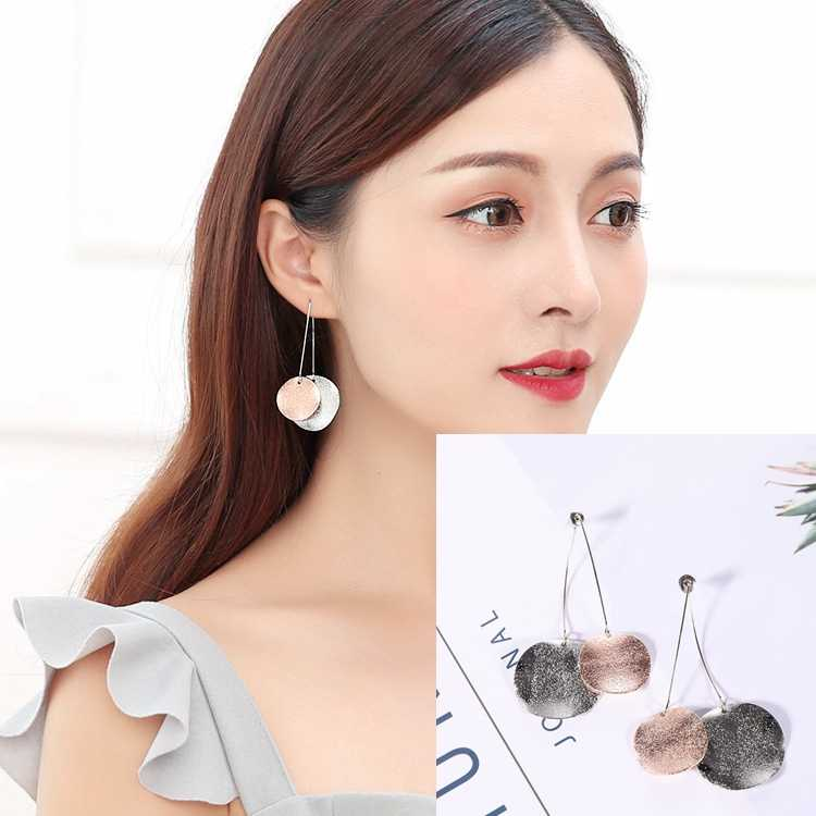 Hot Style Korean Versatile Matte Texture Round Earrings Simple Temperament Earrings Wholesale Birthday Gifts