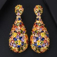 GODKI pendientes de circonia cúbica con forma de gota de agua, joyería de moda, 75mm