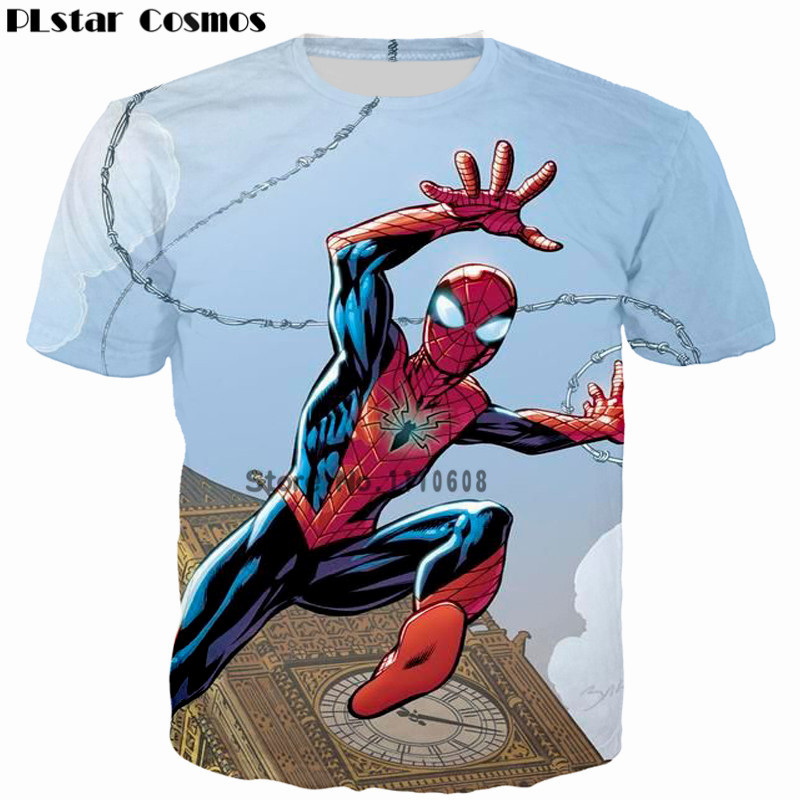 PLstar Cosmos Spider-Man 3D Printed T-shirt Men 2018 Cool Design Tops for Male Casual tee t shirt tshirt Clothing Plus size 5XL