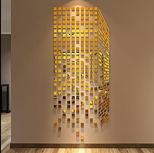 Acrylic Cube 3D Stereoscopic Mosaic Mirror Wall Stickers DIY Art Wall Decor Wall Stickers Home