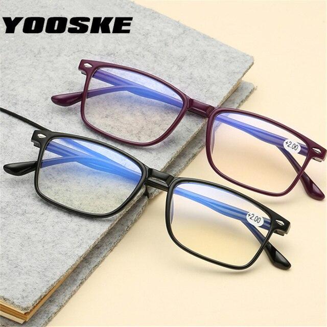 YOOSKE Blue Film Reading Glasses Men Women Read glasses Diopter 2.0 Presbyopic glasses +1.0+1.5 2.0 2.5 3.0