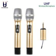 цена на Dual UHF Wireless Microphone System Handheld Mic UHF Speaker with Portable USB Receiver For KTV DJ Speech Amplifier Recording