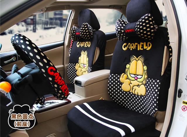 Garfield 18pcs fashion cartoon car seat cover black car steering ...