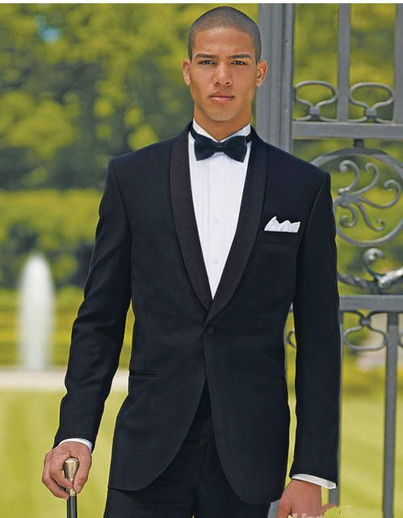 2017 Best Sellers Black Groomsmen Shawl Lapel One Button Groom Tuxedos Men Suits Wedding ...