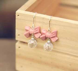 Fashion Hot Selling New Style Korean Fashion Pink Bowknot Dangle Earrings With Rhinestone Ball E29