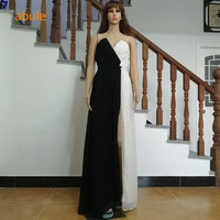 abule Long Evening Dress a line Black & white sleeveless crepe sexy v neck Party Evening Gowns prom Custom plus Size 2017