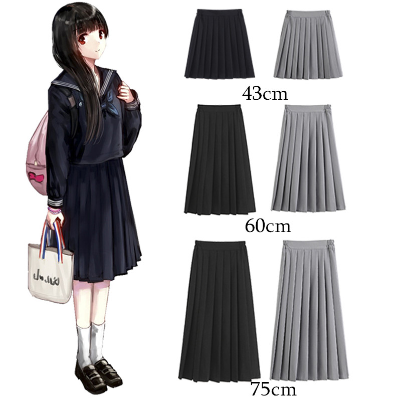 Skirt Sailor-Uniform JK Japanese Girls Preppy-Style High-Waist Plus-Size Summer Women