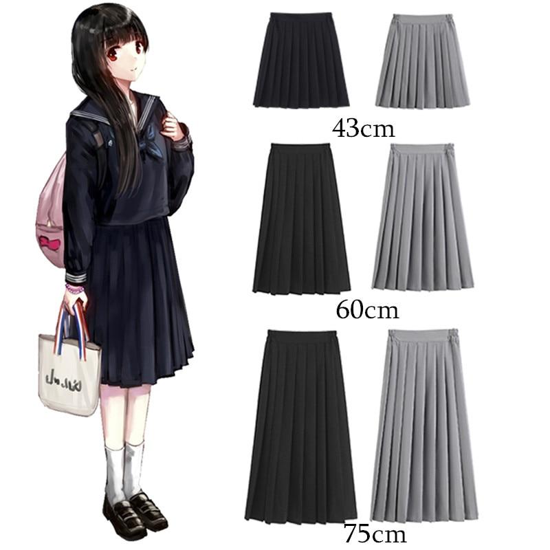 Women Summer High Waist Japanese Preppy Style Skirt High School Girls JK Suit Sailor Uniform Solid Color Plus Size Pleated Skirt