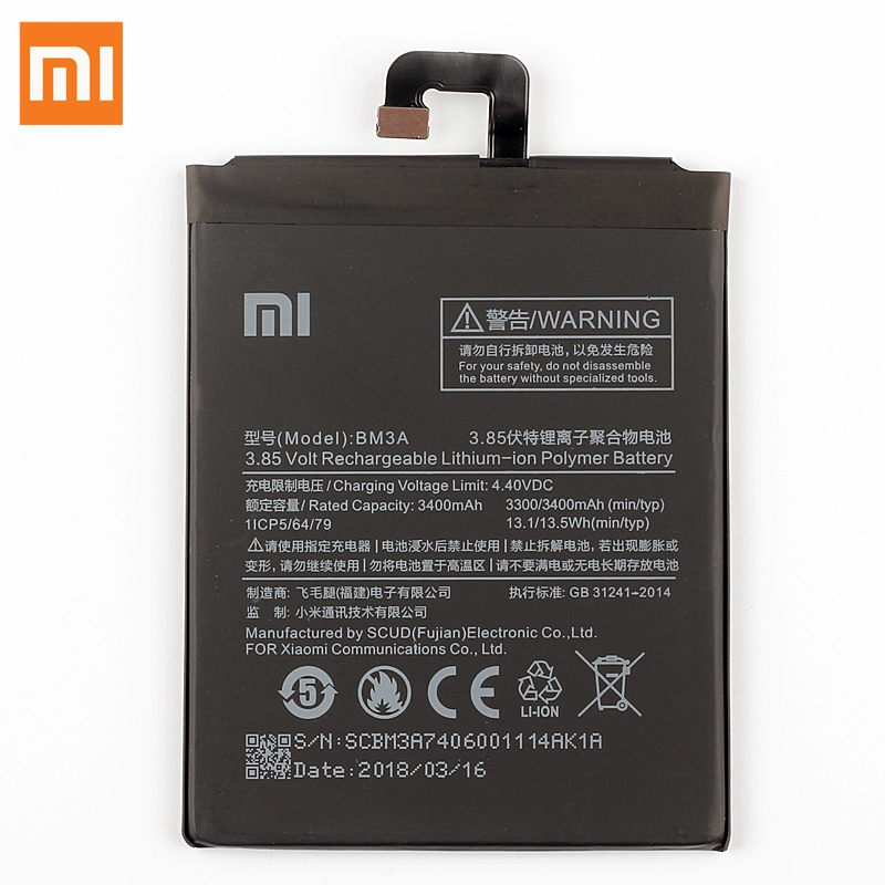 XiaoMi Original Replacement Battery BM3A For XiaoMi Note3 Note 3 100 New Authentic Phone Battery 3400mAh in Mobile Phone Batteries from Cellphones Telecommunications