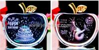 New Design Crystal Apple For The Souvenir Etched Engraving Logo Apple Figurine With Led Base